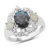 """2.16 Carat Genuine Labradorite, Ethiopian Opal & White Topaz .925 Sterling Silver Ring"""