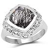 3.40 Carat Genuine Black Rutile .925 Sterling Silver Ring