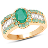 2.17 Carat Genuine Emerald and White Topaz.925 Sterling Silver Ring