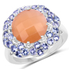7.20 Carat Genuine Peach Moonstone and Tanzanite .925 Sterling Silver Ring