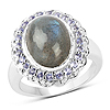 6.56 Carat Genuine Labradorite & Tanzanite .925 Sterling Silver Ring