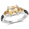 2.61 Carat Genuine Citrine and Champagne Diamond .925 Sterling Silver Ring