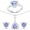 3.35 Carat Genuine Tanzanite and White Topaz .925 Sterling Silver Ring, Pendant and Earrings Set