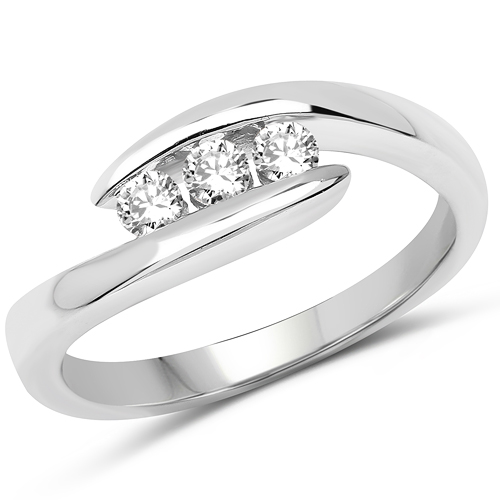 Diamond-0.26 Carat Genuine White Diamond 14K White Gold Ring (E-F Color, SI Clarity)