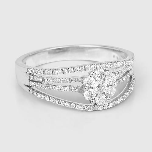 0.51 Carat Genuine White Diamond 14K White Gold Ring (E-F-G Color, SI Clarity)