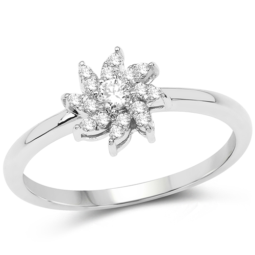 Diamond-0.18 Carat Genuine White Diamond 14K White Gold Ring (E-F-G Color, SI Clarity)
