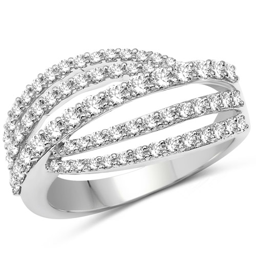 Diamond-0.99 Carat Genuine White Diamond 14K White Gold Ring (G-H Color, SI1-SI2 Clarity)