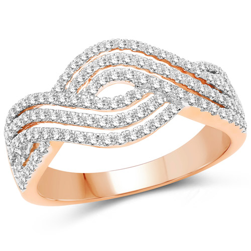 Diamond-0.61 Carat Genuine White Diamond 14K Rose Gold Ring (G-H Color, SI1-SI2 Clarity)