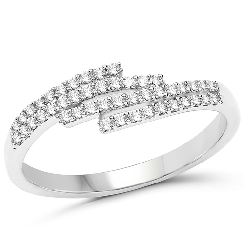 Diamond-0.22 Carat Genuine White Diamond 14K White Gold Ring (F-G Color, SI Clarity)