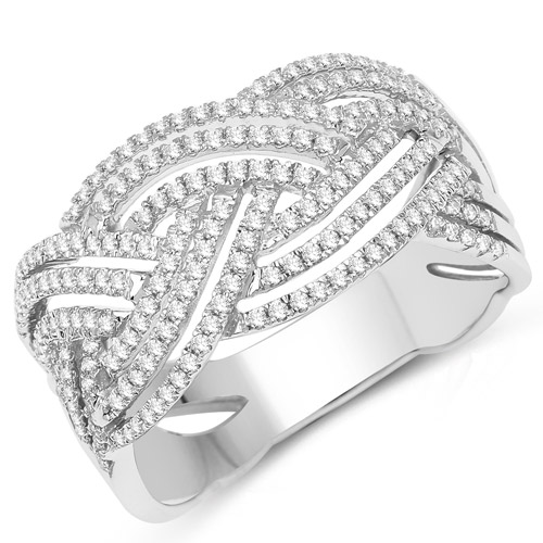 Diamond-0.49 Carat Genuine White Diamond 14K White Gold Ring (G-H Color, SI1-SI2 Clarity)