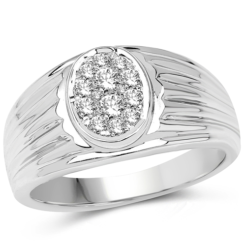 Diamond-0.45 Carat Genuine White Diamond 14K White Gold Ring (E-F Color, SI Clarity)