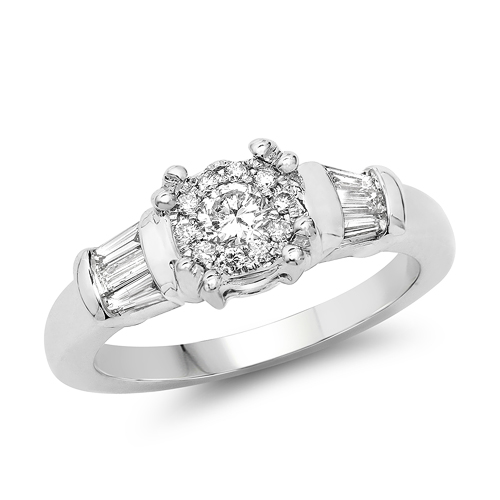 Diamond-0.50 Carat Genuine White Diamond 14K White Gold Ring (E-F-G Color, VS-SI Clarity)