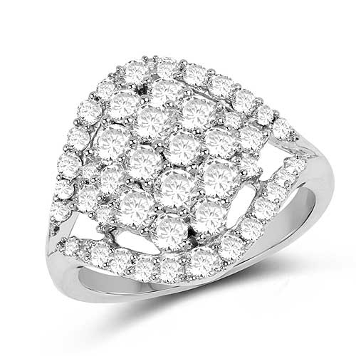 Diamond-1.43 Carat Genuine White Diamond 14K White Gold Ring (G-H Color, SI1-SI2 Clarity)