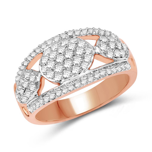 Diamond-0.74 Carat Genuine White Diamond 14K Rose Gold Ring (G-H Color, SI1-SI2 Clarity)