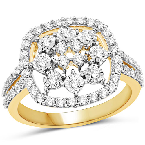 Diamond-0.77 Carat Genuine White Diamond 14K Yellow Gold Ring (G-H Color, SI1-SI2 Clarity)