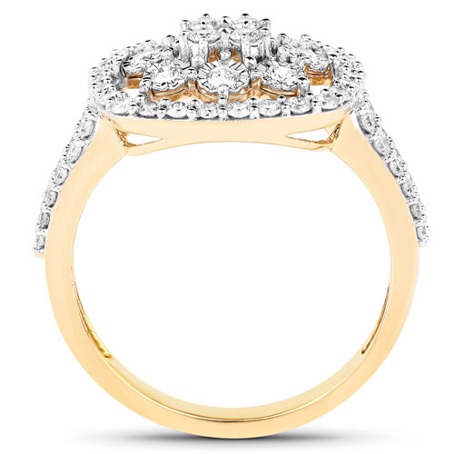 0.77 Carat Genuine White Diamond 14K Yellow Gold Ring (G-H Color, SI1-SI2 Clarity)