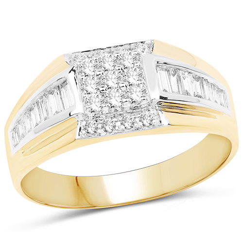 Diamond-0.60 Carat Genuine White Diamond 14K Yellow Gold Ring (G-H Color, SI1-SI2 Clarity)