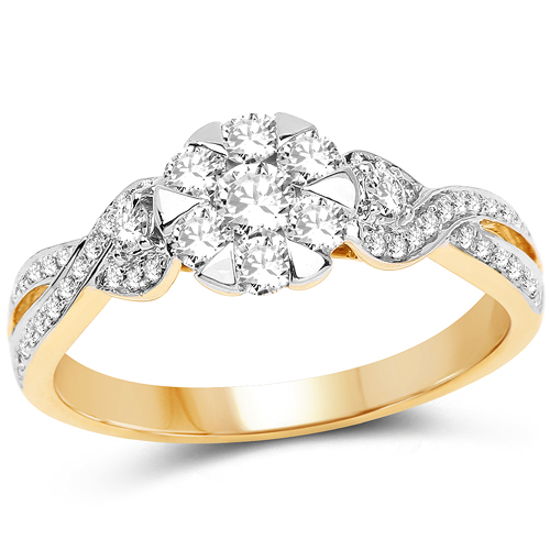 Diamond-0.67 Carat Genuine White Diamond 14K Yellow Gold Ring (F-G Color, SI Clarity)