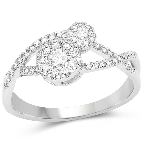 Diamond-0.43 Carat Genuine White Diamond 14K White Gold Ring (F-G Color, SI Clarity)