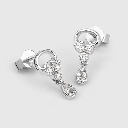 0.53 Carat Genuine White Diamond 14K White Gold Earrings (E-F Color, SI Clarity)