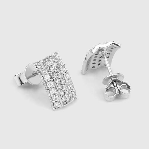 0.72 Carat Genuine White Diamond 14K White Gold Earrings (E-F Color, SI Clarity)