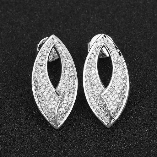 0.62 Carat Genuine White Diamond 14K White Gold Earrings (E-F Color, SI Clarity)