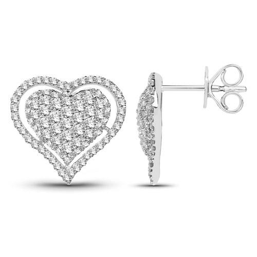 1.26 Carat Genuine White Diamond 14K White Gold Earrings (G-H Color, SI1-SI2 Clarity)