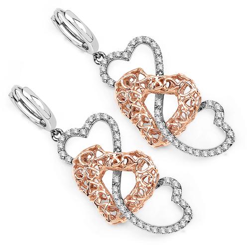 0.50 Carat Genuine White Diamond 14K White & Rose Gold Earrings (E-F-G Color, SI Clarity)