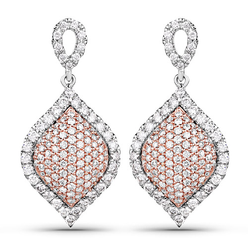 Earrings-1.24 Carat Genuine White Diamond 14K White & Rose Gold Earrings (G-H Color, SI1-SI2 Clarity)