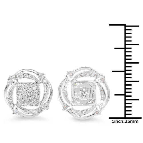 0.72 Carat Genuine White Diamond 14K White Gold Earrings (G-H Color, SI1-SI2 Clarity)