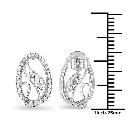 0.43 Carat Genuine White Diamond 14K White Gold Earrings (E-F-G Color, SI Clarity)