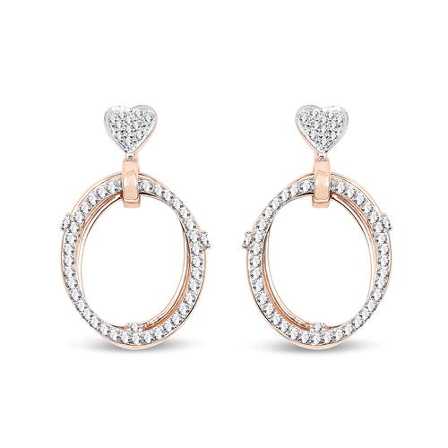 0.74 Carat Genuine White Diamond 14K Rose Gold Earrings (G-H Color, SI Clarity)