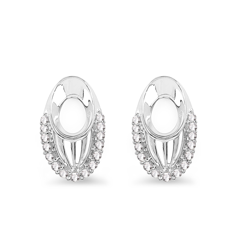 0.23 Carat Genuine White Diamond 14K White Gold Earrings (F-G Color, SI Clarity)