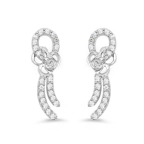 0.32 Carat Genuine White Diamond 14K White Gold Earrings (E-F Color, SI Clarity)