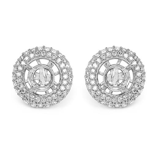 0.66 Carat Genuine White Diamond 14K White Gold Earrings (E-F Color, SI Clarity)