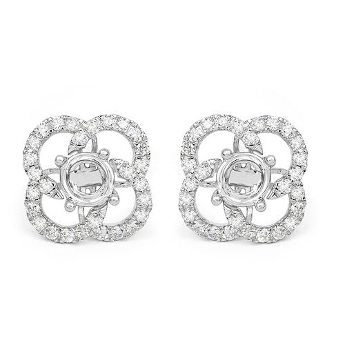 0.74 Carat Genuine White Diamond 14K White Gold Earrings (E-F Color, SI Clarity)
