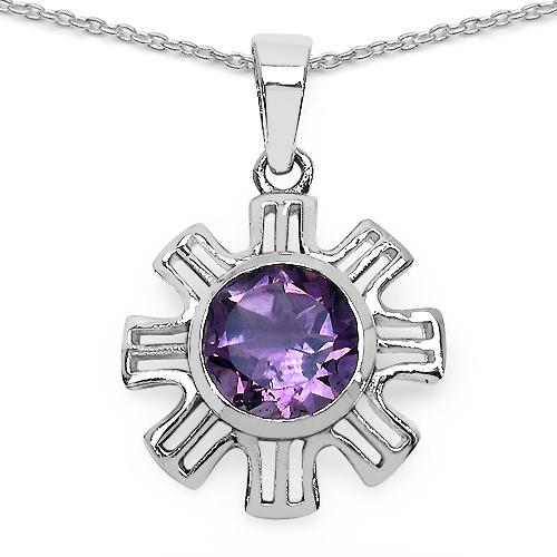 7.07 Carat Genuine Amethyst .925 Sterling Silver Ring, Pendant and Earrings Set
