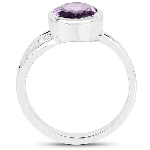 2.15 Carat Genuine Amethyst .925 Sterling Silver Ring