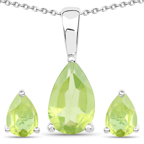 Peridot-1.90 Carat Genuine Peridot .925 Sterling Silver Jewelry Set