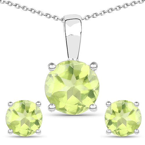 Peridot-2.27 Carat Genuine Peridot .925 Sterling Silver Jewelry Set