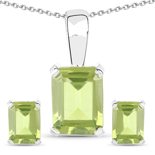 Peridot-2.70 Carat Genuine Peridot .925 Sterling Silver Jewelry Set