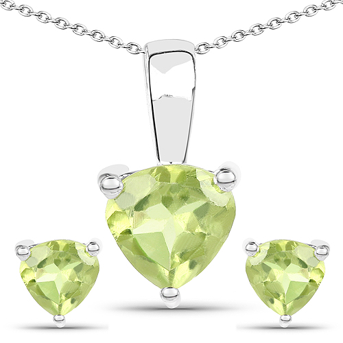 Peridot-1.20 Carat Genuine Peridot .925 Sterling Silver Jewelry Set
