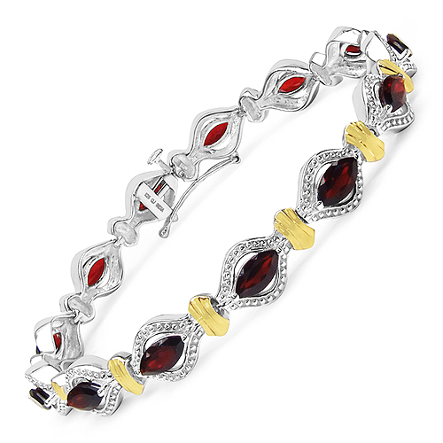 Bracelets-Two Tone Plated 8.45 Carat Genuine Garnet .925 Sterling Silver Bracelet