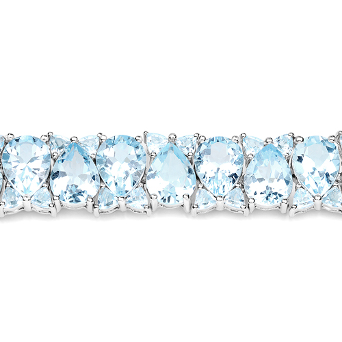 58.76 Carat Genuine Blue Topaz .925 Sterling Silver Bracelet
