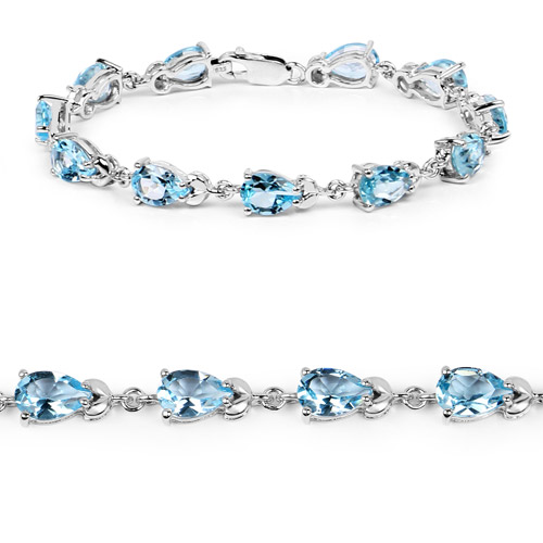 14.30 Carat Genuine Blue Topaz .925 Sterling Silver Bracelet