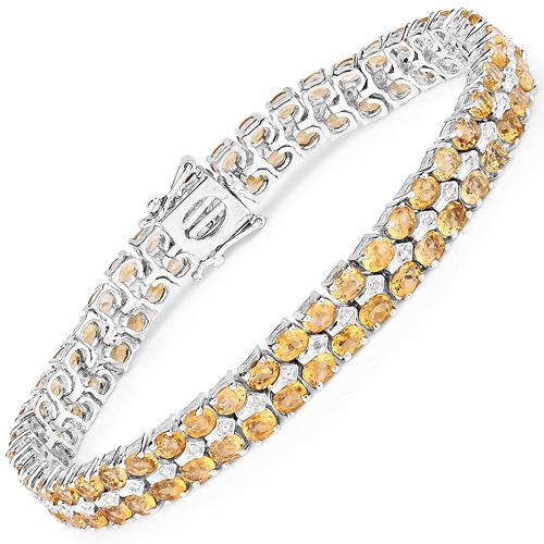 14.52 Carat Genuine Citrine & White Diamond .925 Sterling Silver Bracelet