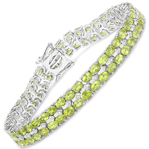 Bracelets-15.42 Carat Genuine Peridot and White Diamond .925 Sterling Silver Bracelet