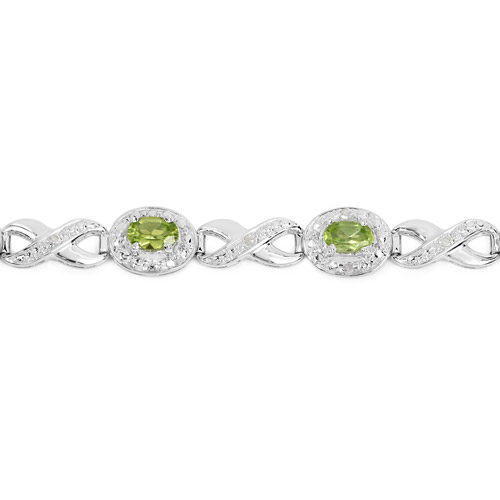 3.74 Carat Genuine Peridot and White Diamond .925 Sterling Silver Bracelet