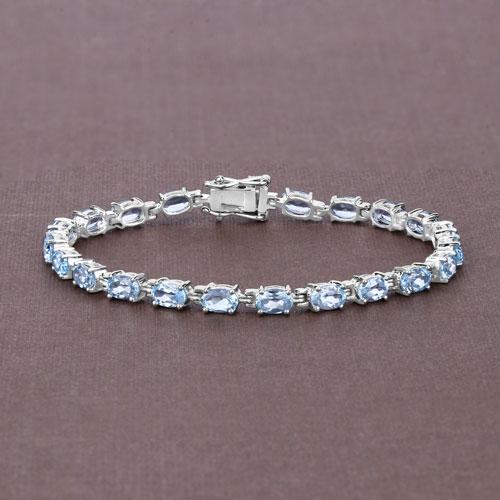 10.71 Carat Genuine Blue Topaz .925 Sterling Silver Bracelet