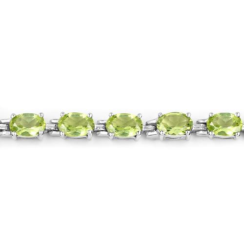 9.03 Carat Genuine Peridot .925 Sterling Silver Bracelet